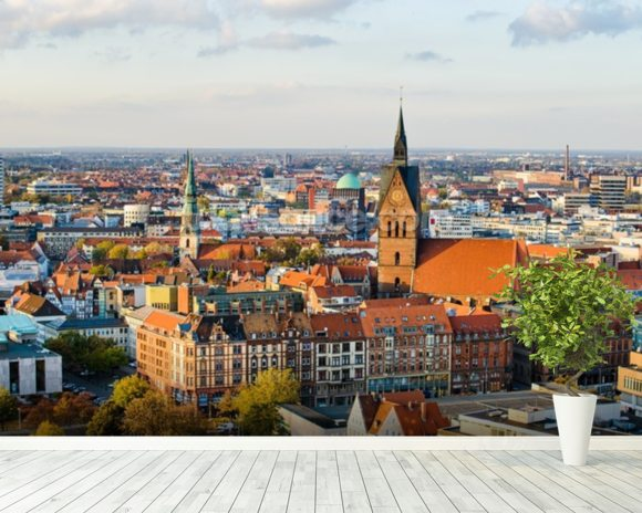 Hannover Skyline mural wallpaper room setting