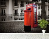 London Post Box wall mural in-room view