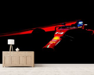 Fernando Alonso USA 14 Red on Black wallpaper mural