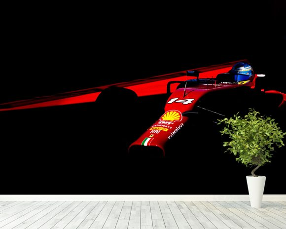 Fernando Alonso USA 14 Red on Black wallpaper mural room setting