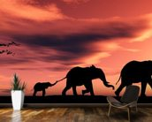 Elephant Family wallpaper mural kitchen preview