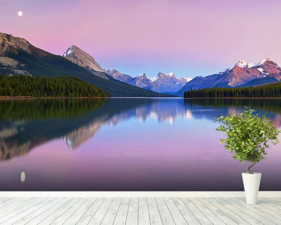 Maligne Lake wallpaper mural room setting