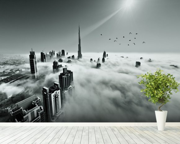Cloud city wall mural cloud city wallpaper wallsauce for Cloud wallpaper mural