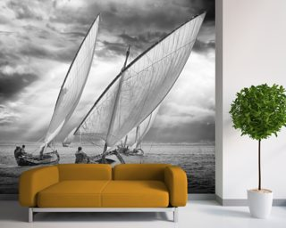 Sailboats and Light mural wallpaper
