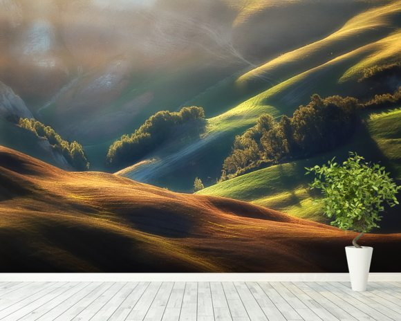 Tuscany Sunrise wallpaper mural room setting