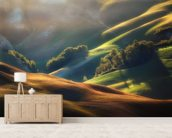 Tuscany Sunrise wallpaper mural living room preview