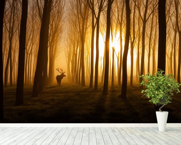 Forest Stag Mural Wallpaper Room Setting