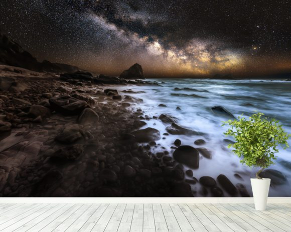 Galactic Warmth wall mural room setting