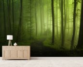 Forest Greens wallpaper mural living room preview