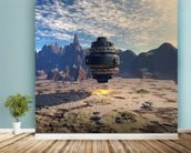Alien UFO Landing mural wallpaper in-room view