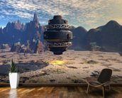 Alien UFO Landing mural wallpaper kitchen preview