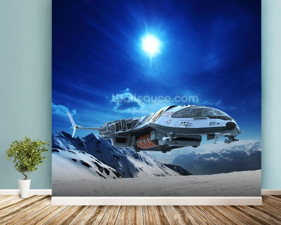Spaceship in snow planet wallpaper mural room setting
