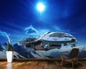 Spaceship in snow planet wallpaper mural kitchen preview