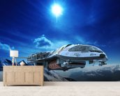 Spaceship in snow planet wallpaper mural living room preview