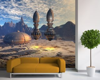 Alien UFO Ship on Alien Planet mural wallpaper
