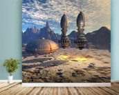 Alien UFO Ship on Alien Planet mural wallpaper in-room view