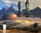 Alien UFO Ship on Alien Planet mural wallpaper kitchen preview