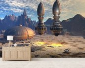 Alien UFO Ship on Alien Planet mural wallpaper living room preview