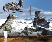 Alien UFO space ship wall mural kitchen preview
