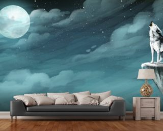 Night Wolf wall mural
