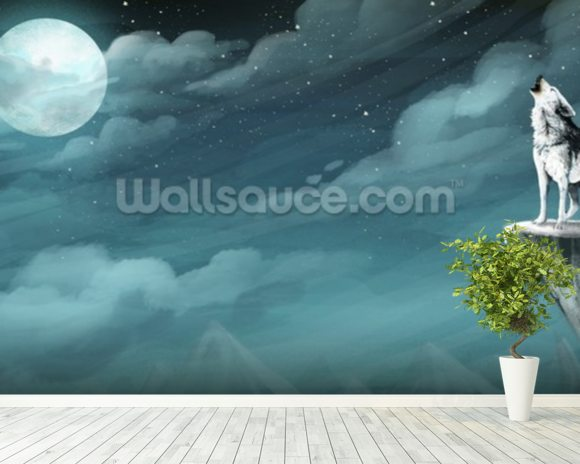 Night Wolf wall mural room setting