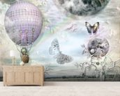 Balloon and butterflies wallpaper mural living room preview