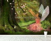 Feather Fairy wall mural in-room view
