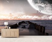 Planet landscape view from a beach wall mural living room preview