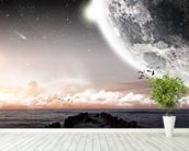 Planet landscape view from a beach wall mural in-room view