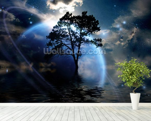 Alien Landscape mural wallpaper room setting