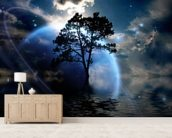 Alien Landscape mural wallpaper living room preview
