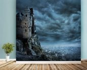 Castle wall mural in-room view