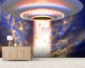 Ufo mass abduction wallpaper mural living room preview