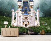 Enchanted castle wall mural living room preview