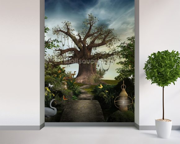 Fabulous garden wallpaper mural room setting