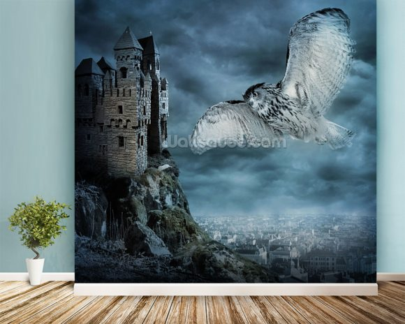 Flying owl bird wallpaper wall mural wallsauce for Bird mural wallpaper