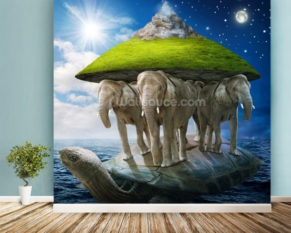 World turtle wallpaper mural room setting