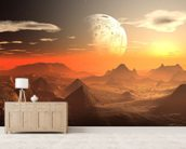 Valley of the Alien Kings mural wallpaper living room preview