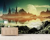 Alien City Ruins beside the Lake wall mural living room preview