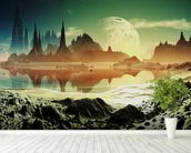 Alien City Ruins beside the Lake wall mural in-room view