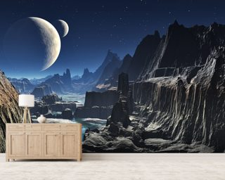 Moonlit Alien Valley Canyon Wallpaper Mural Wall Murals Wallpaper