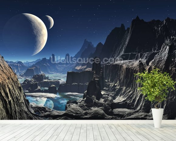 Moonlit Alien Valley Canyon wall mural room setting