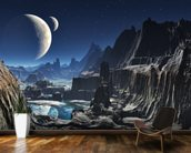 Moonlit Alien Valley Canyon wall mural kitchen preview
