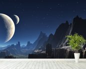 Moonlit Alien Valley Canyon wall mural in-room view