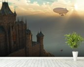 Fantasy castle and flying zeppelin mural wallpaper in-room view