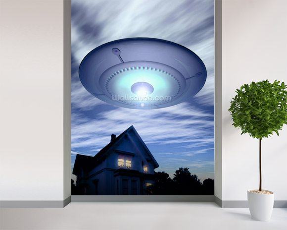 UFO wall mural room setting