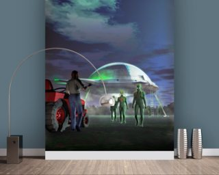 UFO Abduction wall mural