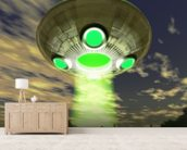 UFO over trees wallpaper mural living room preview
