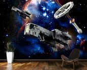 Spaceships at war wallpaper mural kitchen preview