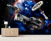 Spaceships at war wallpaper mural living room preview